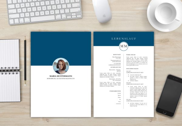 Bewerbungsvorlage - Deckblatt und Lebenslauf