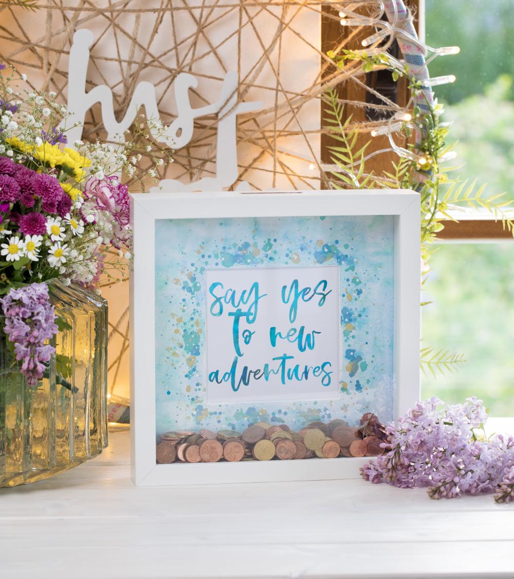 Bilderrahmen-Spardose als Hochzeitsgeschenk